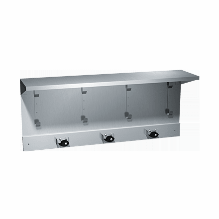 1309-3 ASI Shelf with Utility Hooks and 3 Mop Holders Strip