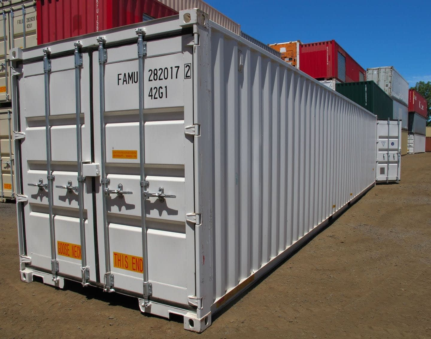 TRS Containers NJ sells new 40 ft long steel containers export, equpment enclosures and storage