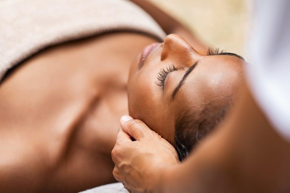 Woman received facial massage