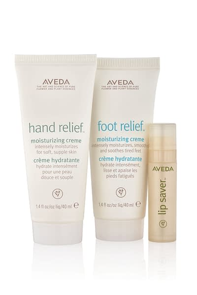 Aveda hand and foot relief and chapstick bottles