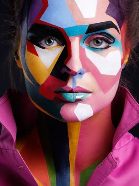 woman with bright colors on her face