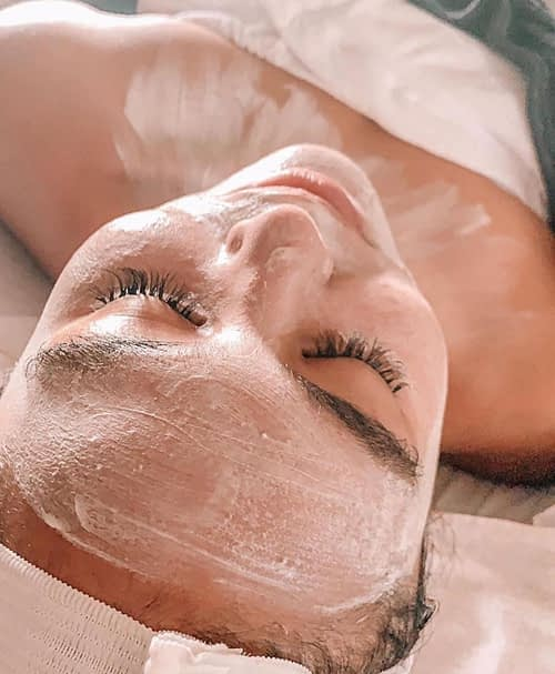 A skin treatment being done at Aveda Institute Provo under the supervision of licensed professionals.