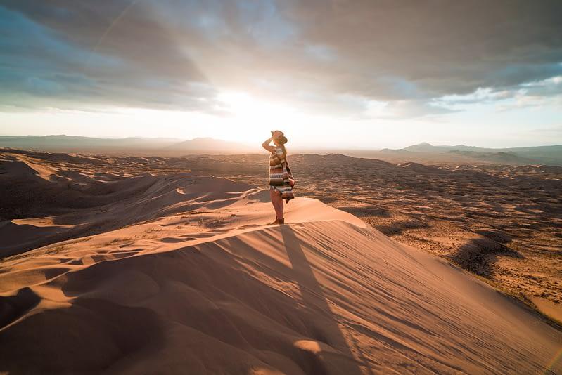 Woman standing in the desert
