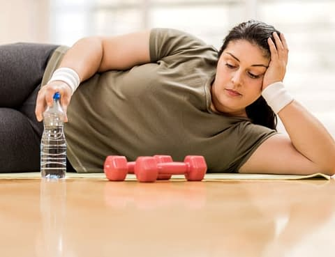 Woman Frustrated By Her Workout