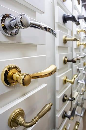 Door handles in hardware store