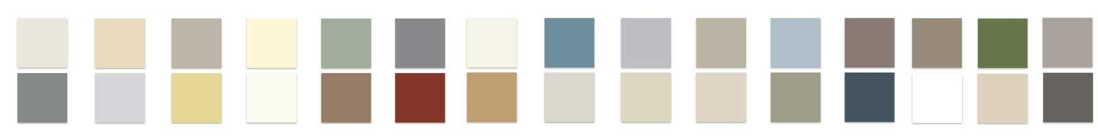 Squares of available siding colors