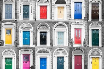 Grid of 18 colorful doors
