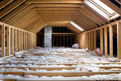 Large Attic With Fluffy Insulation