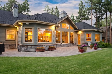 Suburban home with large windows