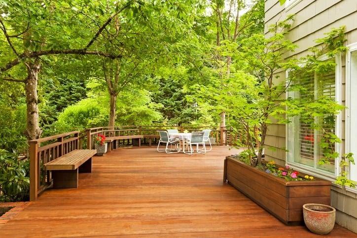expansive deck in backyard