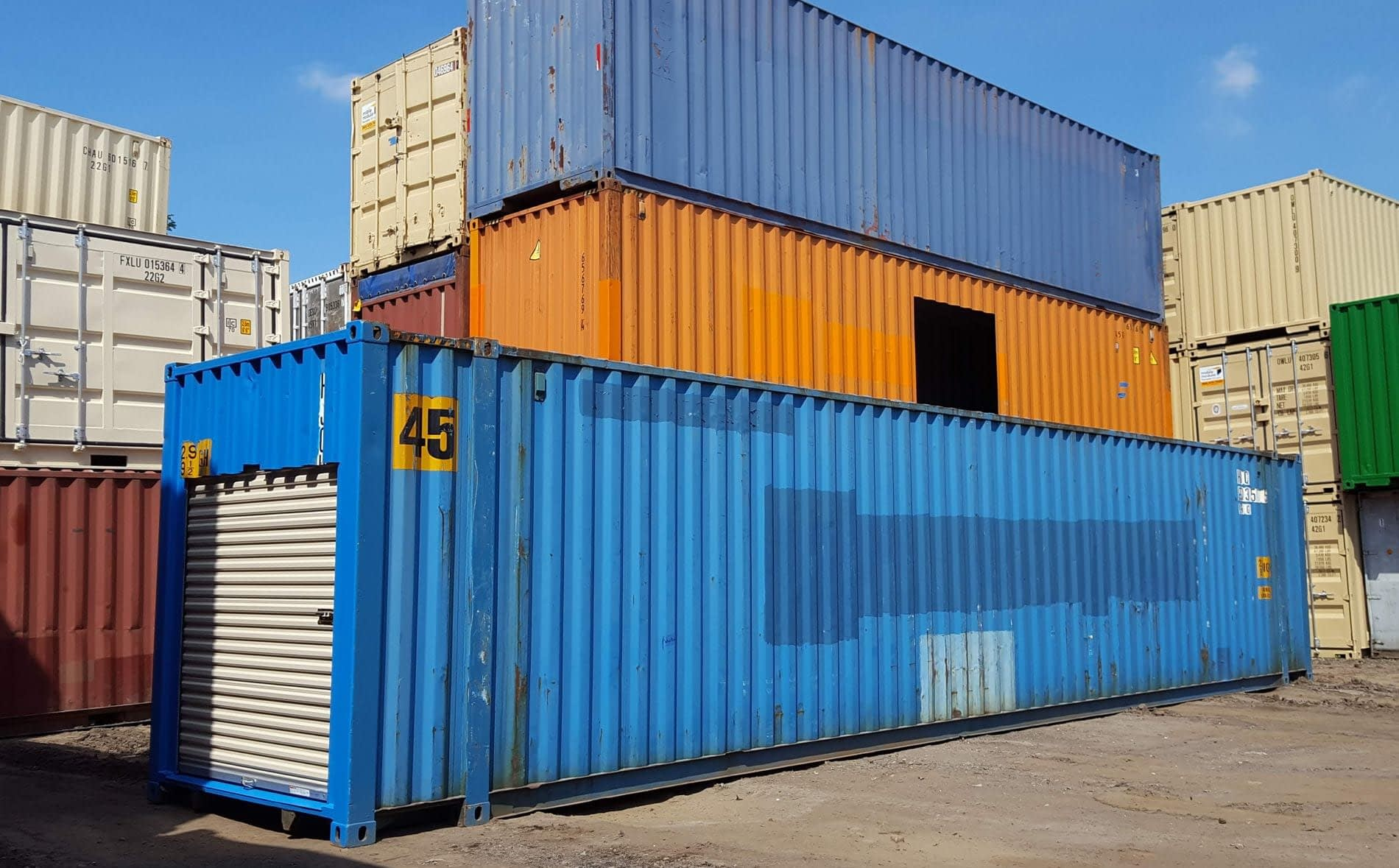 TRS rents and sells 45ft highcbue containers for shipping or storage