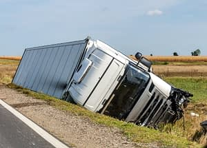 truck tipped over in ditch