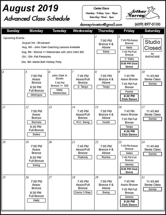 Princeton Group Class Calendar