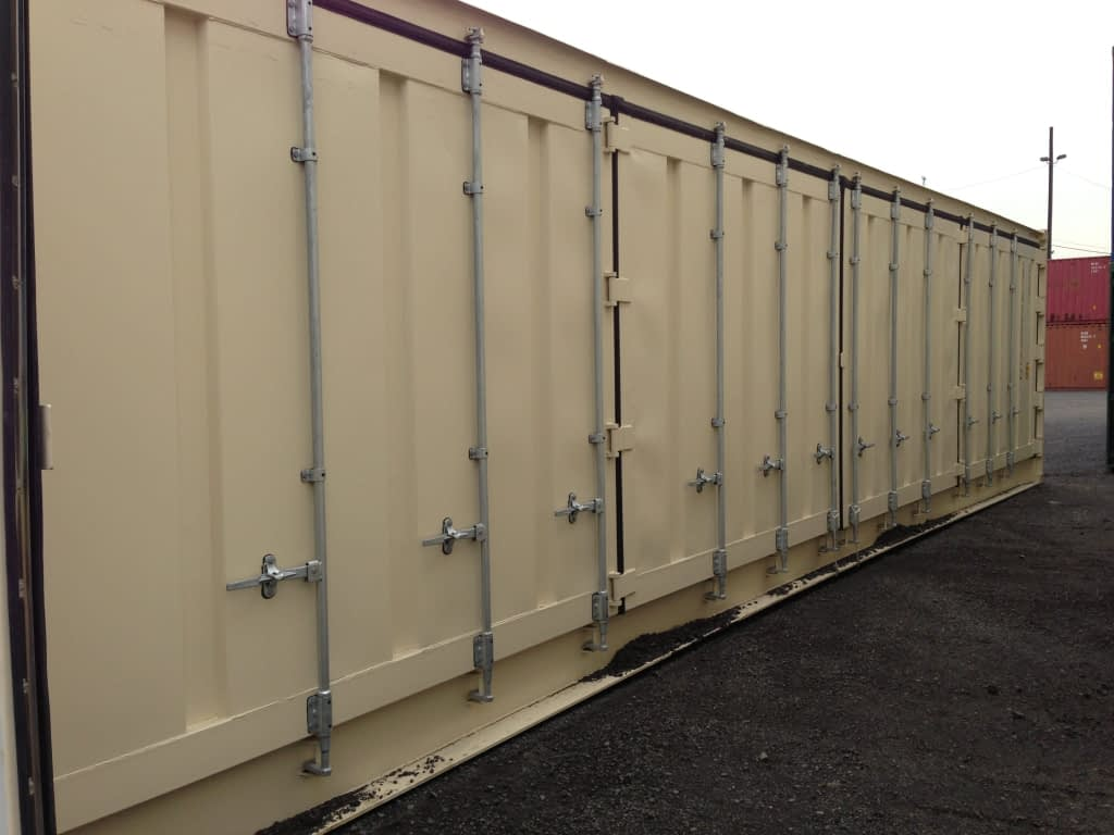 TRS Containers openside containers have 2 swing doors on one 8ft wide end and one full side opens