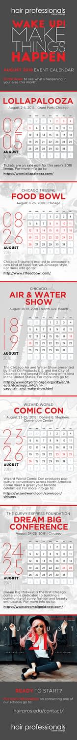Calendar of August 2018 events in Chicago