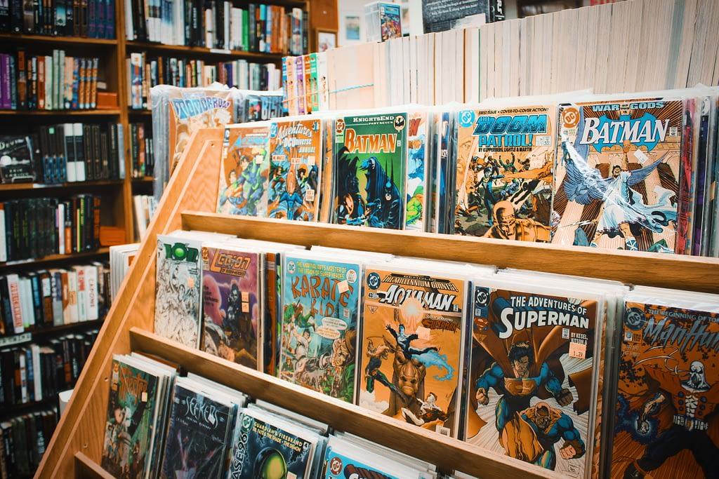 comic books on a shelf
