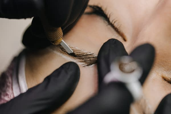 close up of microblading