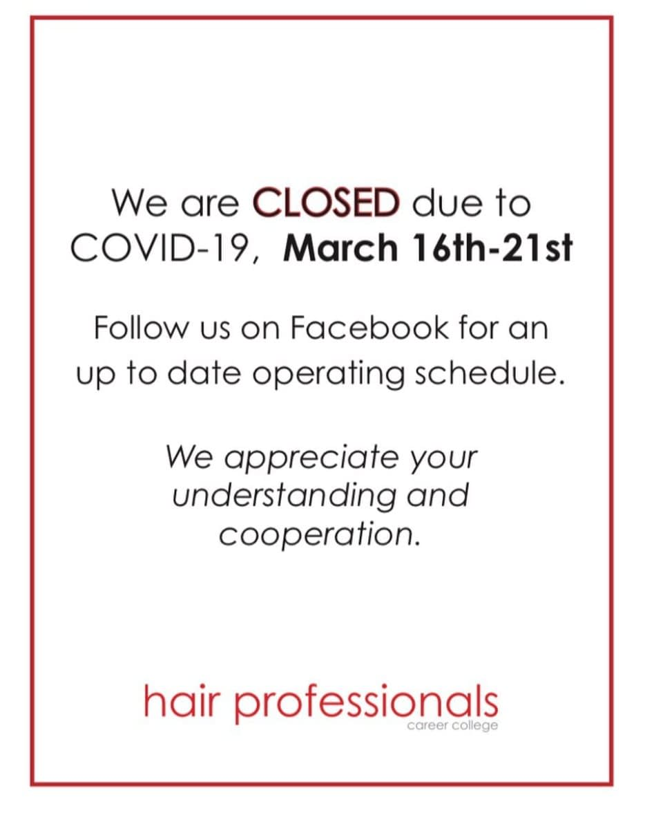 covid 19 information closing