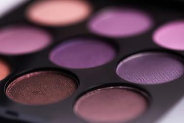 close up of purple eyeshadow palette