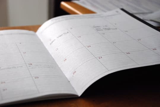 Close up of a planner.