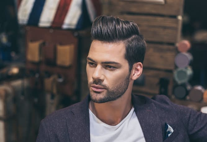 Model with Pompadour looking left