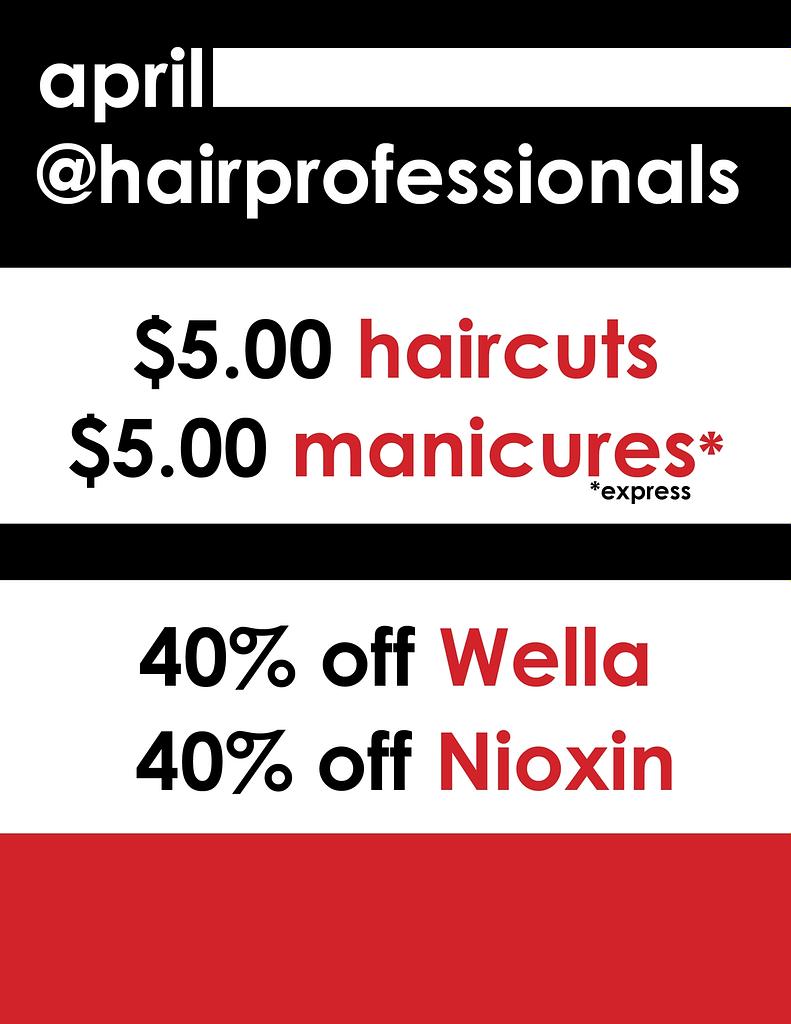 april salon specials haircuts