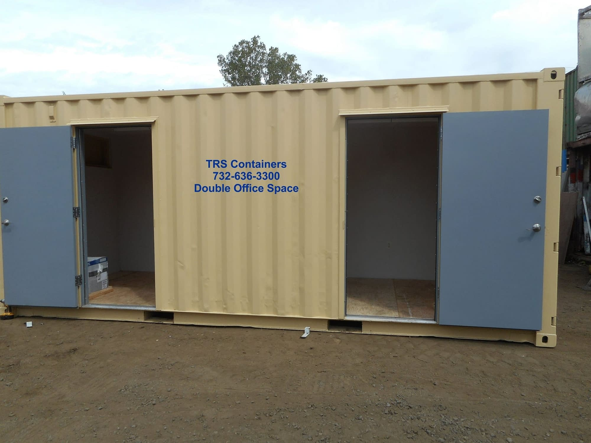 TRS fabrication work expands a containers functions with doors, electric, hvac and privacy