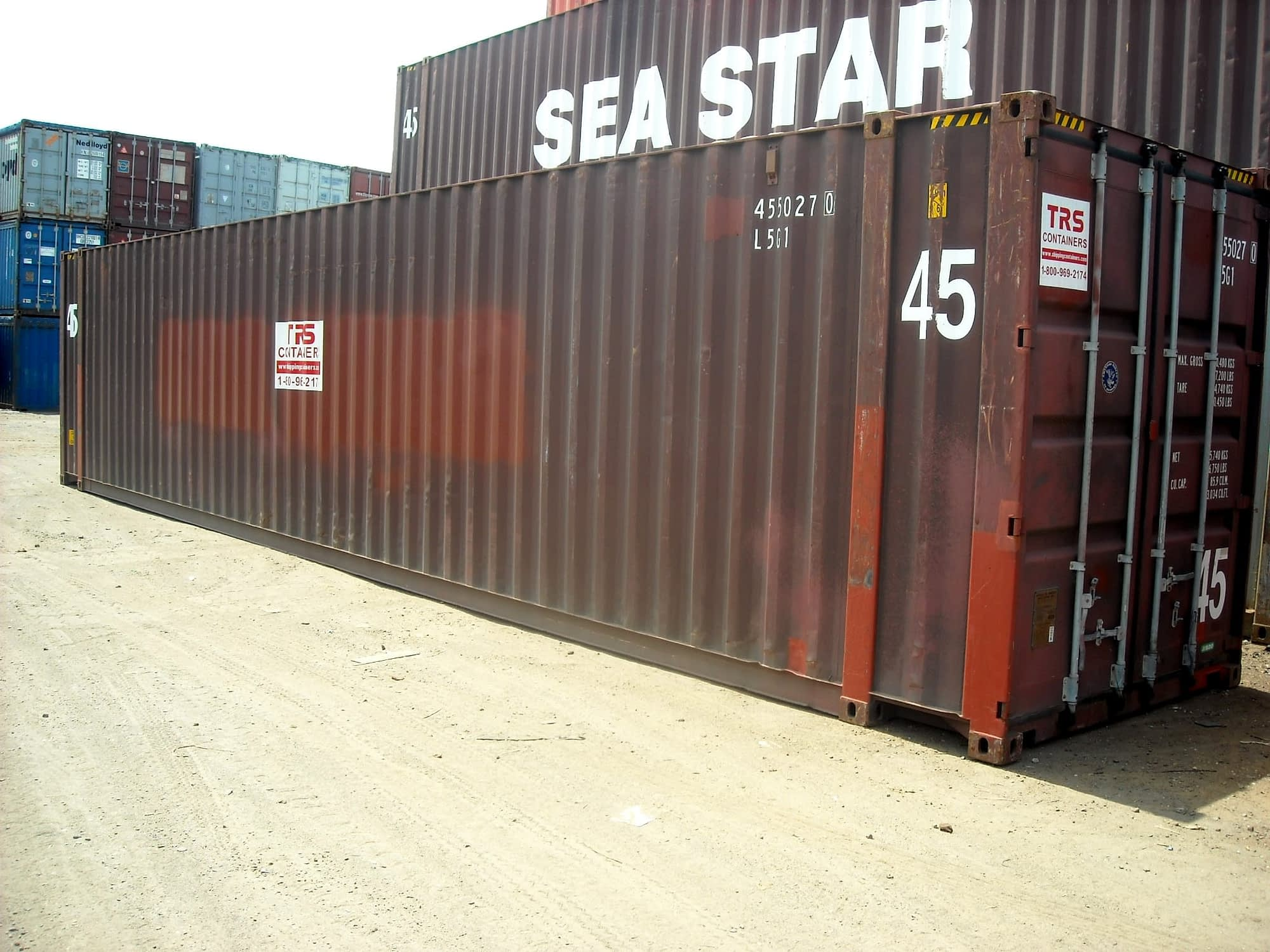 TRS Containers sells steel intermodal containers in 45 foot lengths