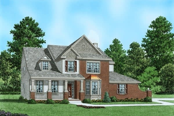 Plan 6 red brick front of house
